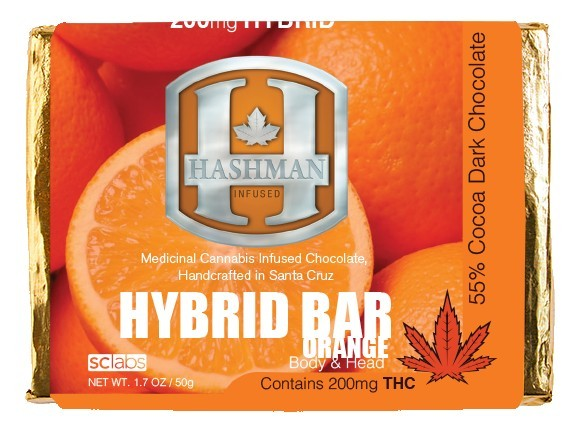 Orange Hybrid Chocolate Bar - 200mg